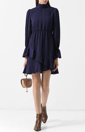 Приталенное мини-платье с оборками и воротником-стойкой See by Chloé синее   Фото №1