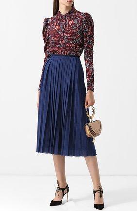 Однотонная плиссированная юбка-миди See by Chloé синяя   Фото №1
