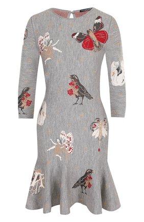 Приталенное мини-платье из смеси шелка и шерсти с принтом | Фото №1