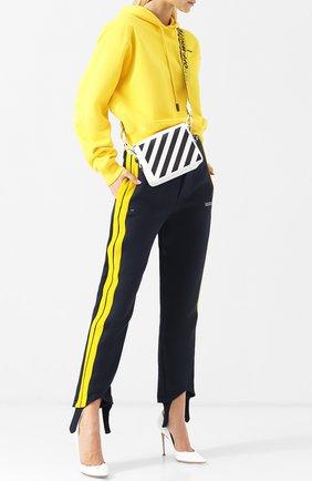 Укороченные брюки с контрастными лампасами Off-White синие | Фото №1