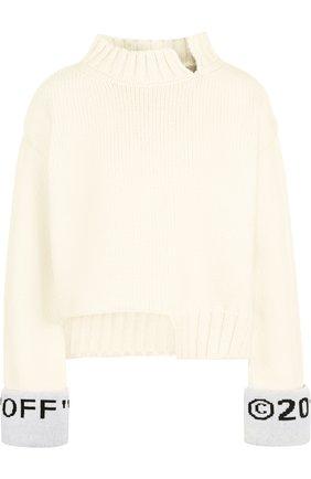Шерстяной пуловер со спущенным рукавом и воротником-стойкой Off-White белый | Фото №1