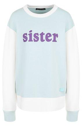 Хлопковый пуловер с круглым вырезом и надписью Acne Studios белый | Фото №1