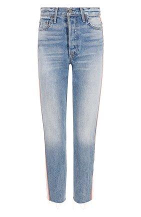 Укороченные джинсы с потертостями с контрастными лампасами GRLFRND синие | Фото №1