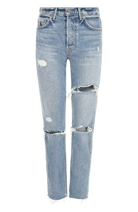 Укороченные джинсы с потертостями GRLFRND синие | Фото №1