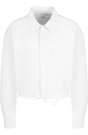 Укороченная джинсовая куртка с накладным карманом GRLFRND белая | Фото №1