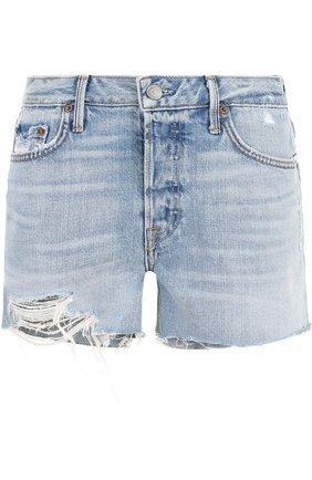 Джинсовые мини-шорты с потертостями GRLFRND голубые | Фото №1