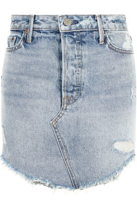 Джинсовая мини-юбка с потертостями GRLFRND голубая | Фото №1