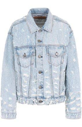 Джинсовая куртка с потертостями GRLFRND голубая | Фото №1
