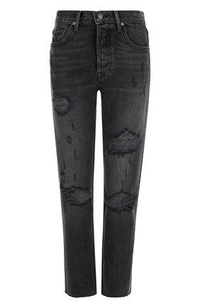 Укороченные джинсы с потертостями GRLFRND черные | Фото №1
