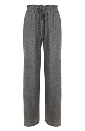 Однотонные кашемировые брюки с эластичным поясом The Row темно-серые | Фото №1