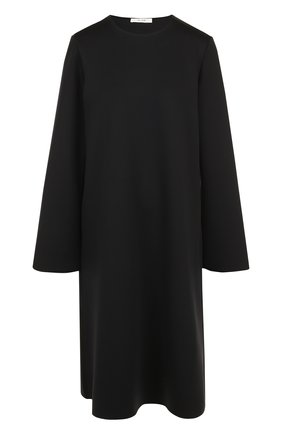 Однотонное платье свободного кроя с круглым вырезом | Фото №1