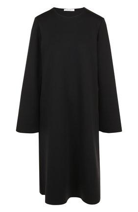 Однотонное платье свободного кроя с круглым вырезом The Row черное | Фото №1