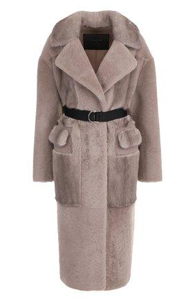 Меховое пальто с поясом и накладными карманами Blancha серая | Фото №1