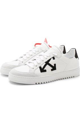 Кожаные кеды на шнуровке Off-White черно-белые | Фото №1