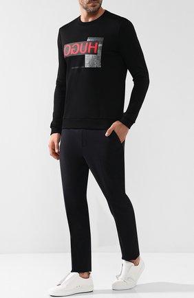 Хлопковый свитшот с принтом HUGO черный   Фото №1