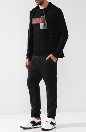Хлопковый кардиган на молнии HUGO черный   Фото №1