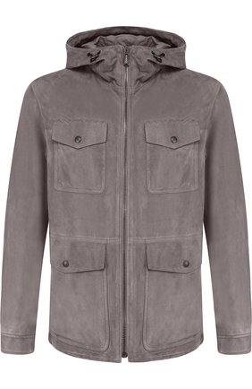 Мужская кожаная куртка на молнии с капюшоном BOTTEGA VENETA серого цвета, арт. 513685/VEPN0   Фото 1