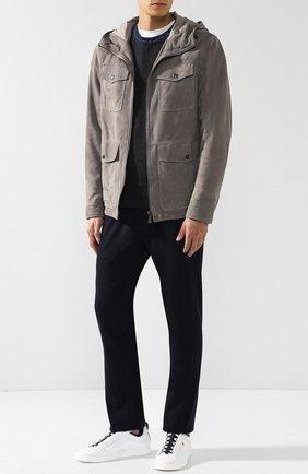 Мужская кожаная куртка на молнии с капюшоном BOTTEGA VENETA серого цвета, арт. 513685/VEPN0   Фото 2