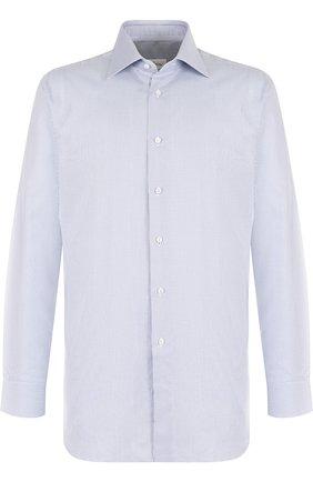 Хлопковая сорочка с воротником кент Brioni голубая | Фото №1