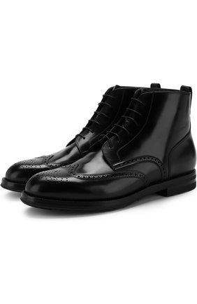 Кожаные ботинки на шнуровке с брогированием W.Gibbs черные   Фото №1