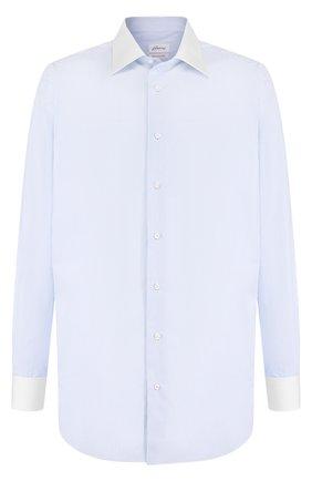 Хлопковая сорочка с воротником кент Brioni светло-голубая | Фото №1