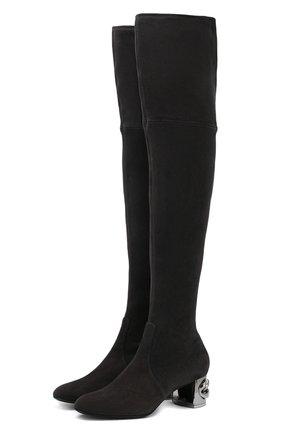 Замшевые ботфорты Maxi Chain на декорированном каблуке Casadei темно-серые   Фото №1