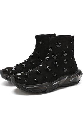 Замшевые кроссовки Valentino Garavani Bounce с отделкой | Фото №1