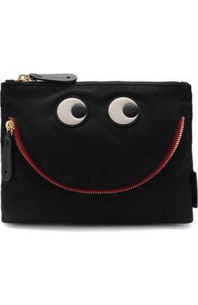 Текстильная косметичка Happy Eyes Anya Hindmarch черная | Фото №1