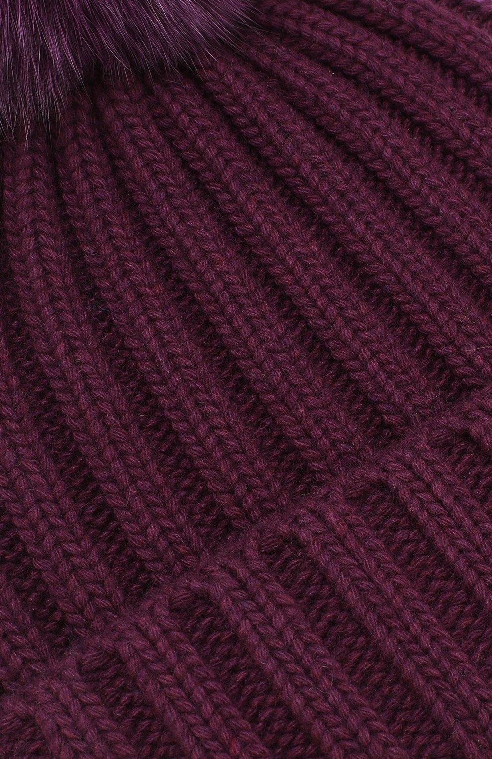 Шапка крупной вязки с меховым помпоном | Фото №3