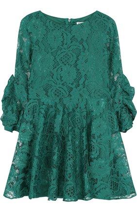 Кружевное платье с оборками на рукавах   Фото №1