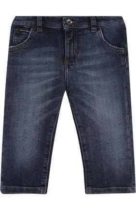 Детские джинсы с декоративными потертостями и эластичной вставкой на поясе DOLCE & GABBANA синего цвета, арт. L11F98/LD725 | Фото 1