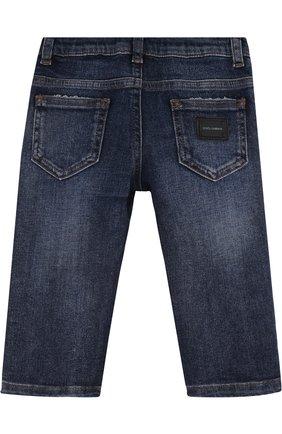 Детские джинсы с декоративными потертостями и эластичной вставкой на поясе DOLCE & GABBANA синего цвета, арт. L11F98/LD725 | Фото 2