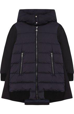 Пуховое пальто с текстильной спинкой и капюшоном | Фото №1