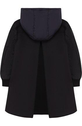 Пуховое пальто с текстильной спинкой и капюшоном | Фото №2