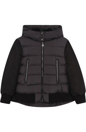 Пуховая куртка с текстильной спинкой и капюшоном | Фото №1