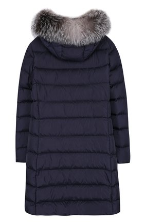 Пуховое пальто на молнии с капюшоном и меховой отделкой | Фото №2