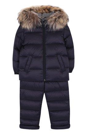 Детский комплект из пуховой куртки и комбинезона на подтяжках MONCLER ENFANT синего цвета, арт. D2-951-70335-25-53079 | Фото 1