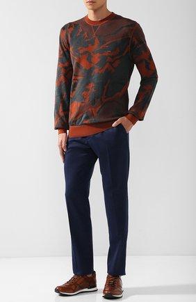 Джемпер из смеси хлопка и шелка с принтом Zegna Couture светло-коричневый | Фото №1