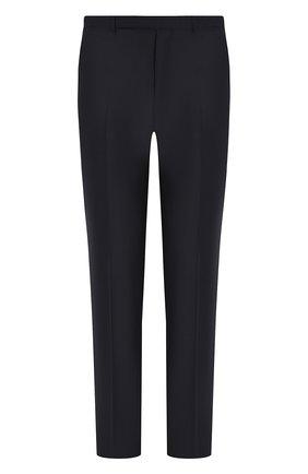 Шерстяные брюки прямого кроя Ermenegildo Zegna темно-синие | Фото №1