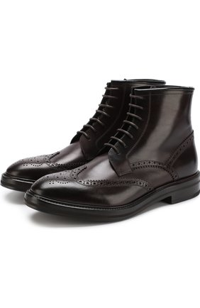Высокие кожаные ботинки с брогированием H`D`S`N Baracco бордовые | Фото №1
