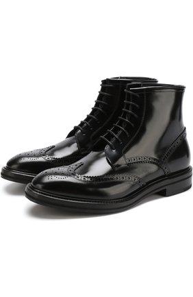 Высокие кожаные ботинки с брогированием H`D`S`N Baracco черные | Фото №1
