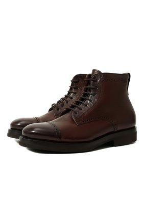 Высокие кожаные ботинки на шнуровке с молнией и с внутренней меховой отделкой H`D`S`N Baracco коричневые | Фото №1