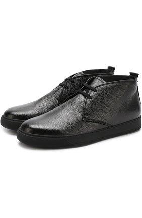Кожаные ботинки на шнуровке H`D`S`N Baracco черные | Фото №1