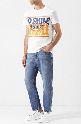 Укороченные джинсы прямого кроя с потертостями Stella McCartney голубые | Фото №2