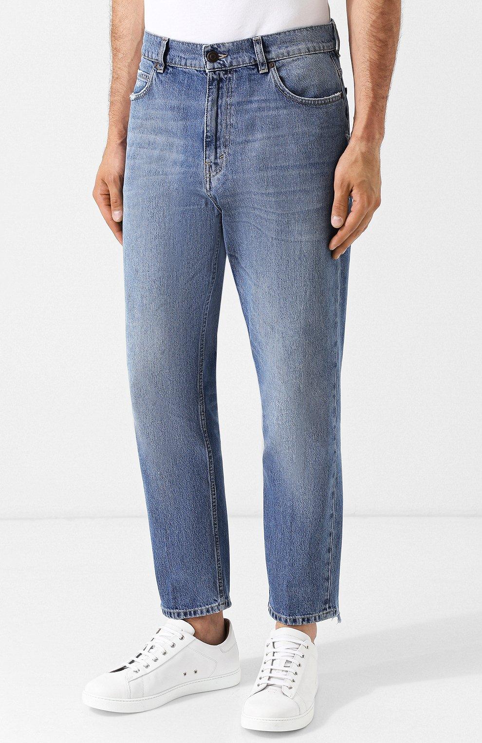 Укороченные джинсы прямого кроя с потертостями Stella McCartney голубые | Фото №3