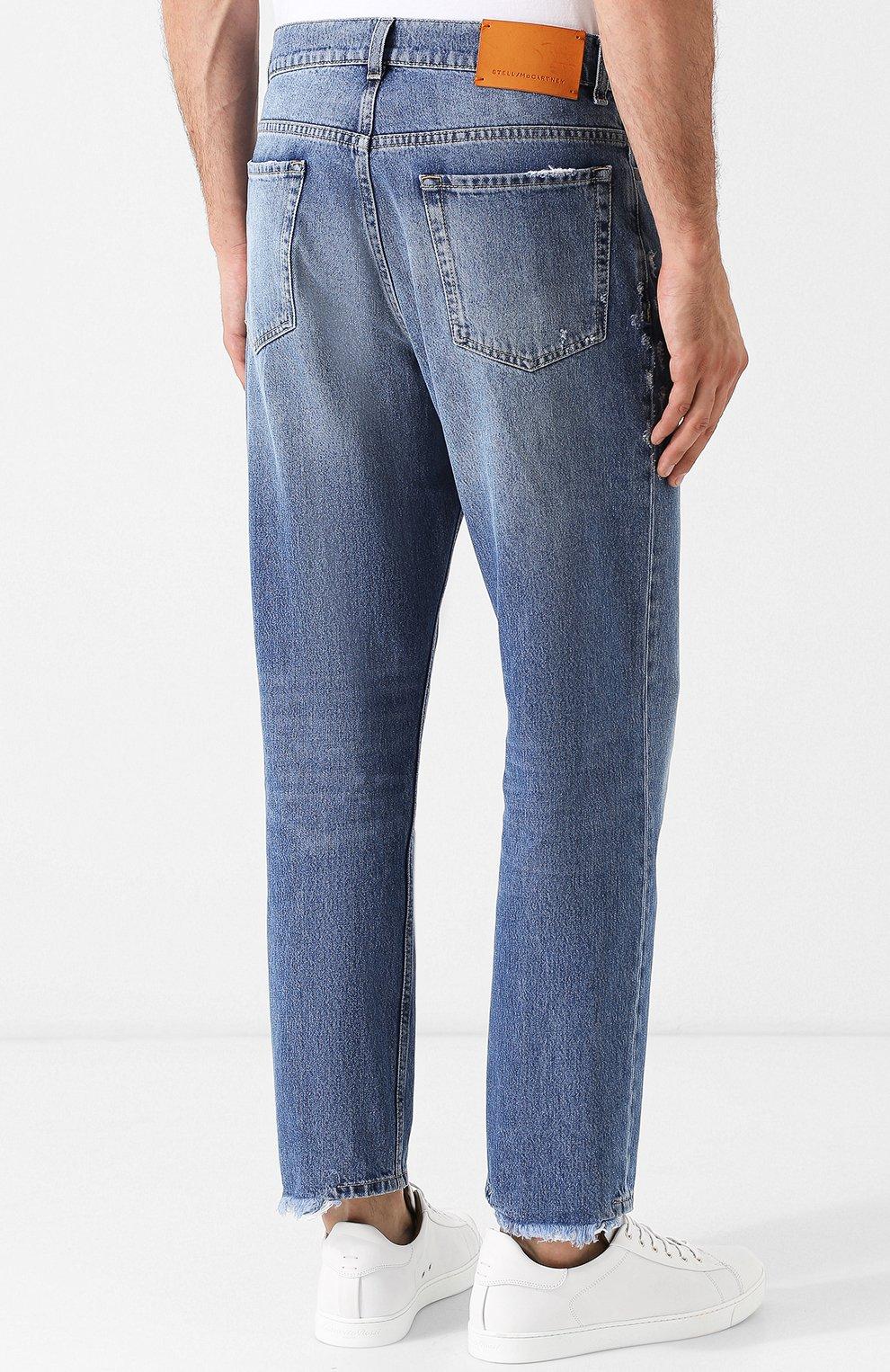 Укороченные джинсы прямого кроя с потертостями Stella McCartney голубые | Фото №4