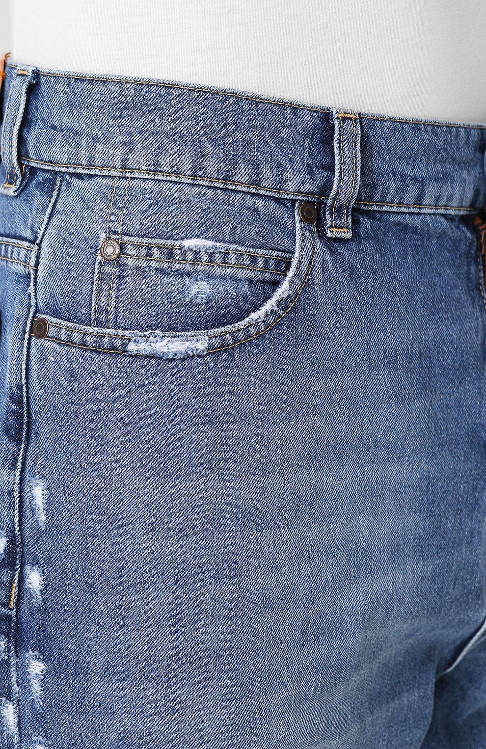 Укороченные джинсы прямого кроя с потертостями Stella McCartney голубые | Фото №5