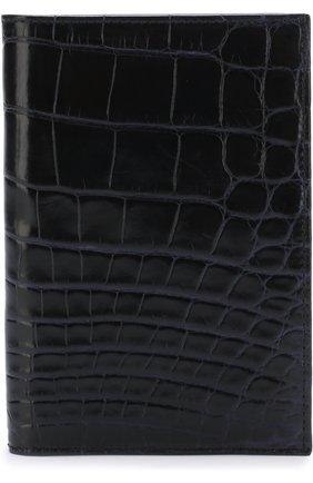 Мужская обложка для паспорта из кожи крокодила BRIONI темно-синего цвета, арт. 0HQS0L/07718/AMIS | Фото 1