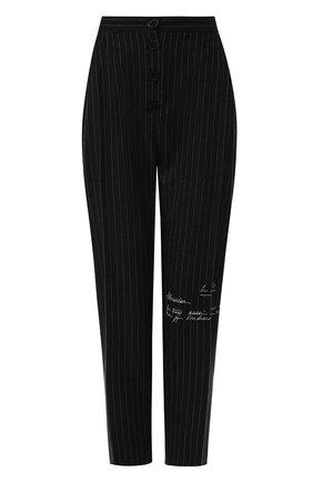 Укороченные брюки со стрелками и принтом Ruban черные | Фото №1