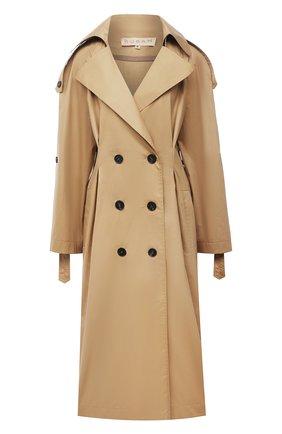 Двубортное пальто свободного кроя с защипами Ruban бежевого цвета | Фото №1